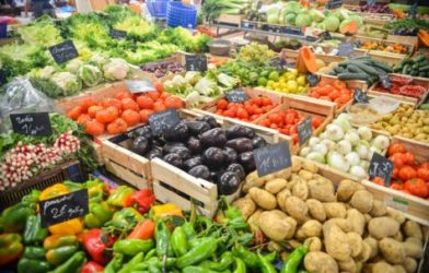 Fruits and vegetables in grocery store produce section