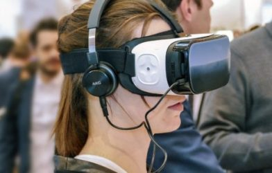 Woman using virtual reality headset
