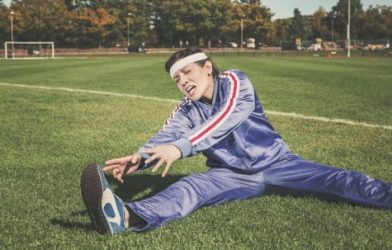 Person doing intense stretching and exercising