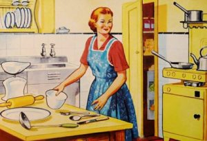 Vintage image of woman cooking