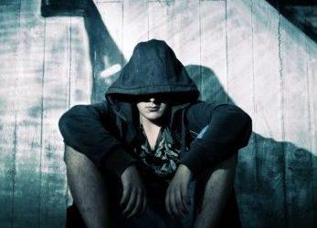 Sad boy in hoodie