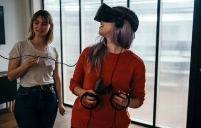 Woman using a virtual reality (VR) headset