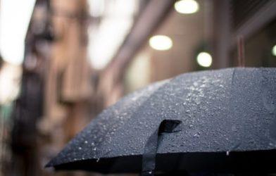 Umbrella open in the rain