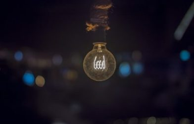 Dimly lit lightbulb