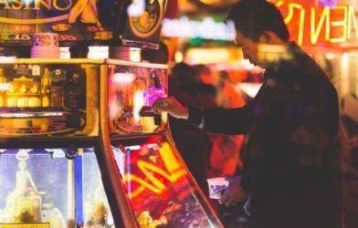 Man playing game at casino