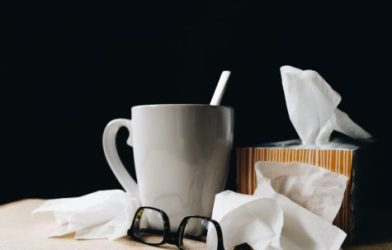 Tissues, soup for person sick with flu