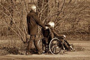 Elderly couple taking walk