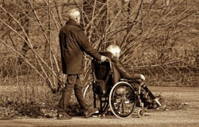 Elderly couple taking walk