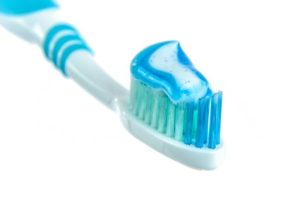Toothpaste on toothbrush