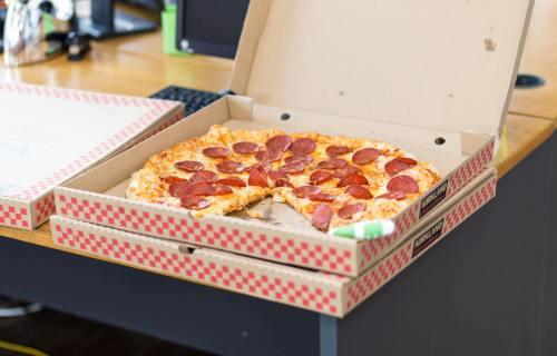 Pizza box at office