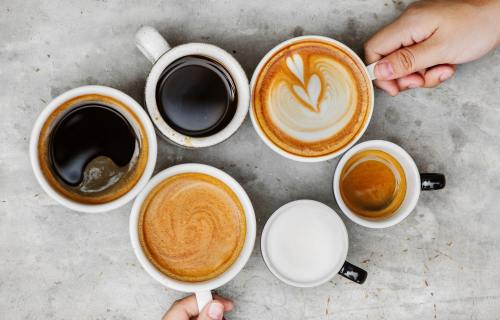Various cups of coffee and lattes