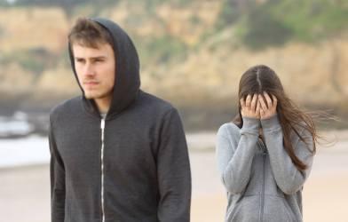 Teenage couple breaking up
