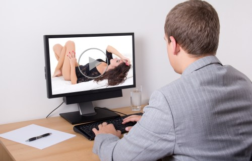 Man watching porn at work or in his office