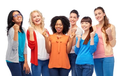 Group of diverse, smiling women