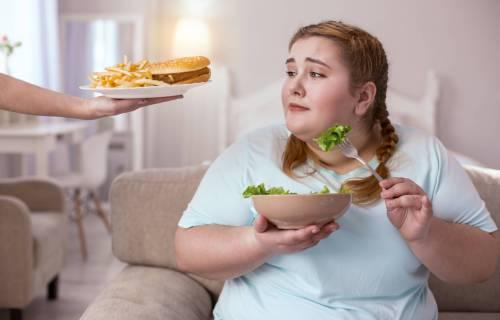 Tasty appealing hamburger enticing obese woman eating salad