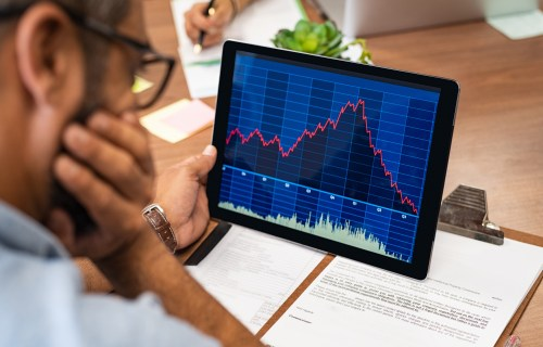 Investor looking at stock market crash