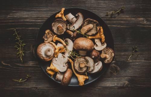 Mixed mushrooms in a pot