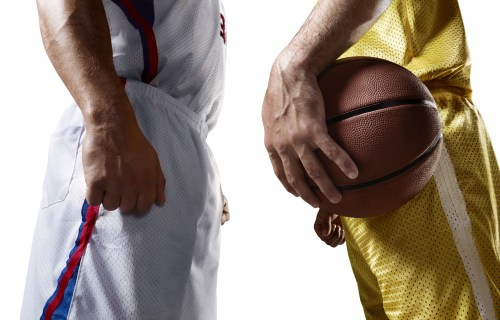 Basketball player facing each other