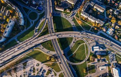 Aerial image of highway