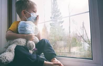 Child wearing mask during coronavirus pandemic