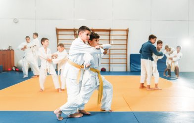 Children practicing Judo, martial arts