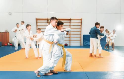 Children practicing Judo, martial arts
