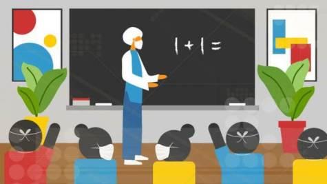 School classroom in the age of coronavirus / COVID-19