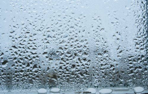 Water vapor or rain drops on window