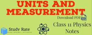 Units and Measurement Notes Class 11 Physics Notes- Download PDF for JEE/NEET