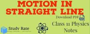 Motion in Straight Line-Kinematics Notes Class 11 Physics Notes- Download PDF for JEE/NEET