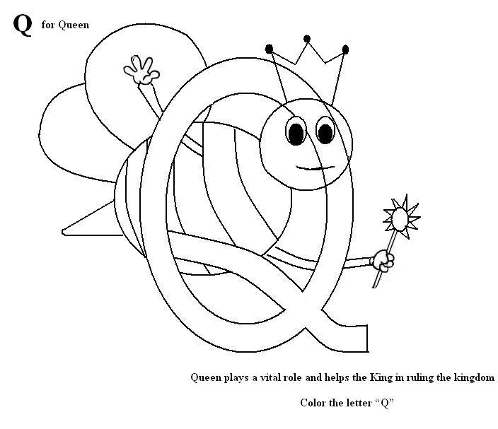 letter q coloring printable page for kids