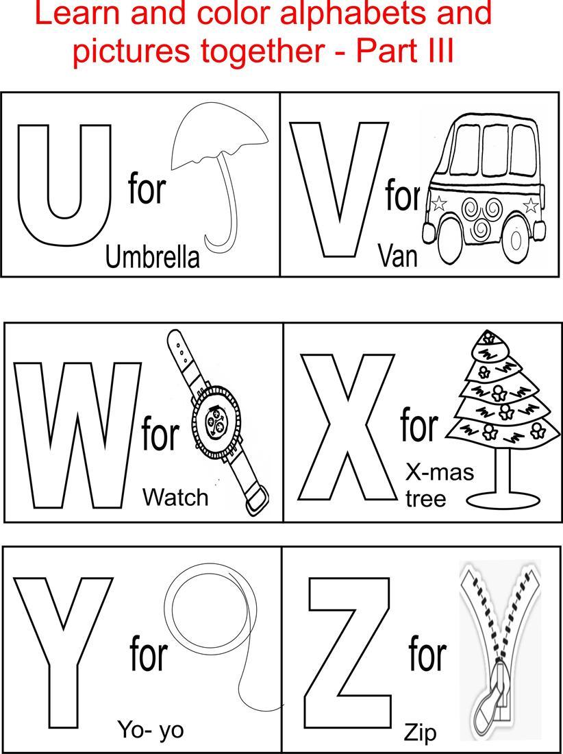Alphabet Part III coloring printable page for kids | alphabet coloring worksheets for kindergarten