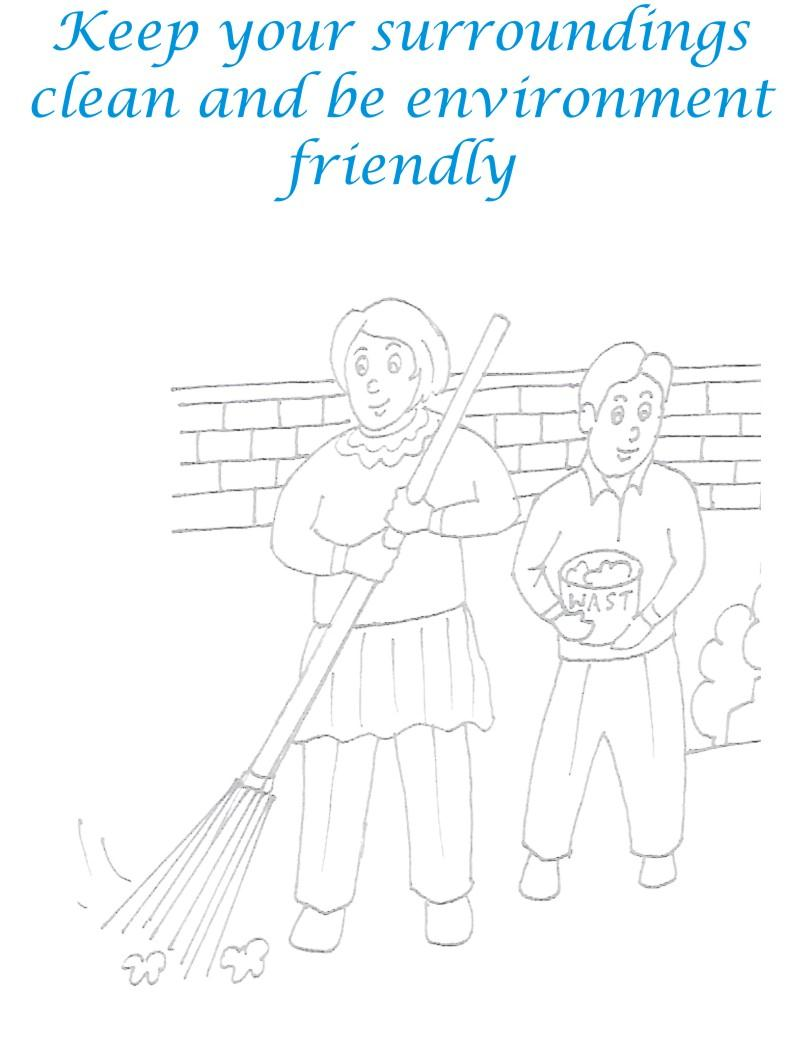 Clean Your Surroundings Coloring Page