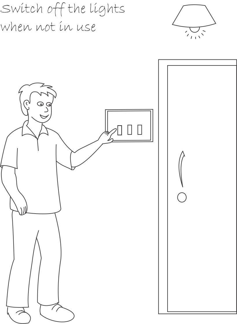 Save Electricity Printable Coloring Page For Kids