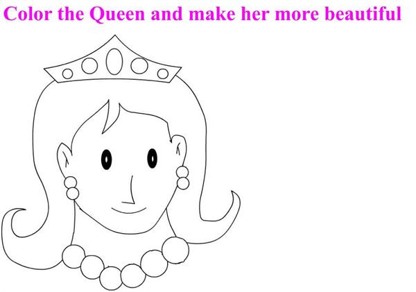 Beautiful Queen coloring page for kids