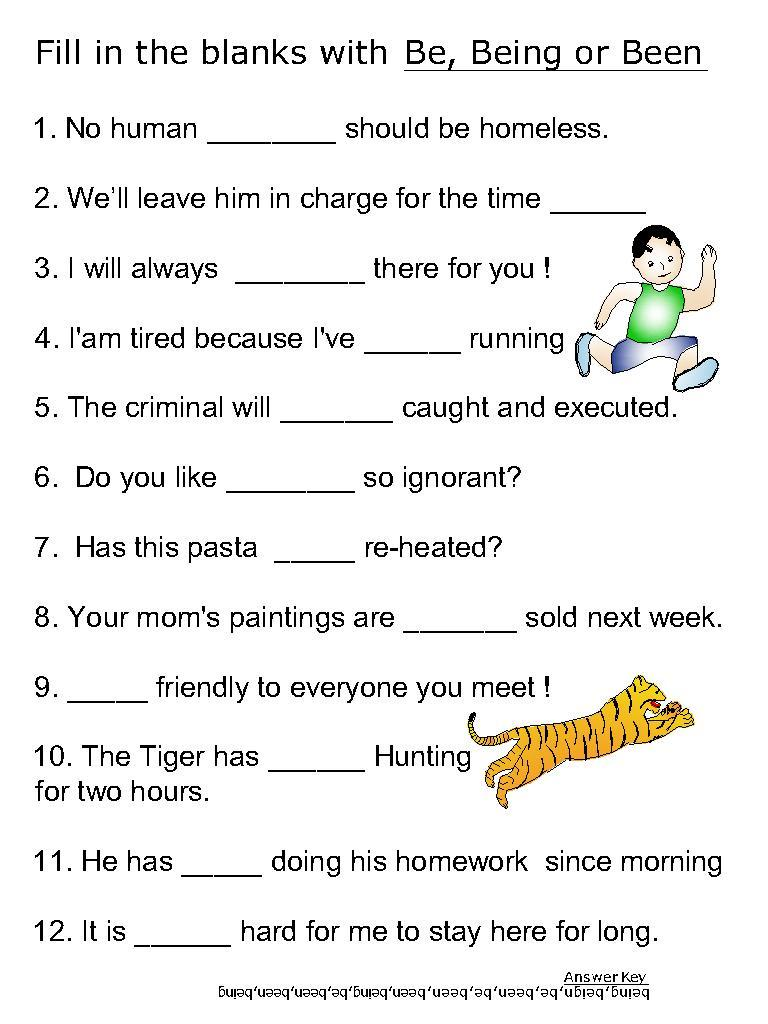 Helping Verb Worksheets For Be Been Being