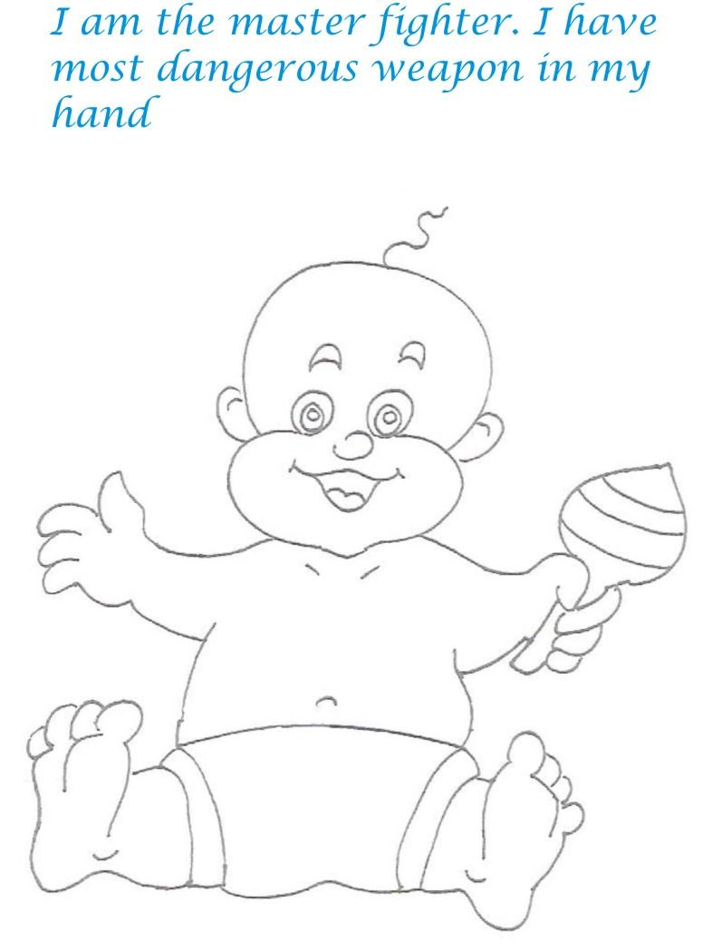 naughty babies coloring printable pages for kids 1
