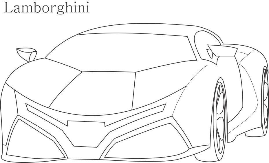 Super Car Lamborghini Coloring Page For Kids