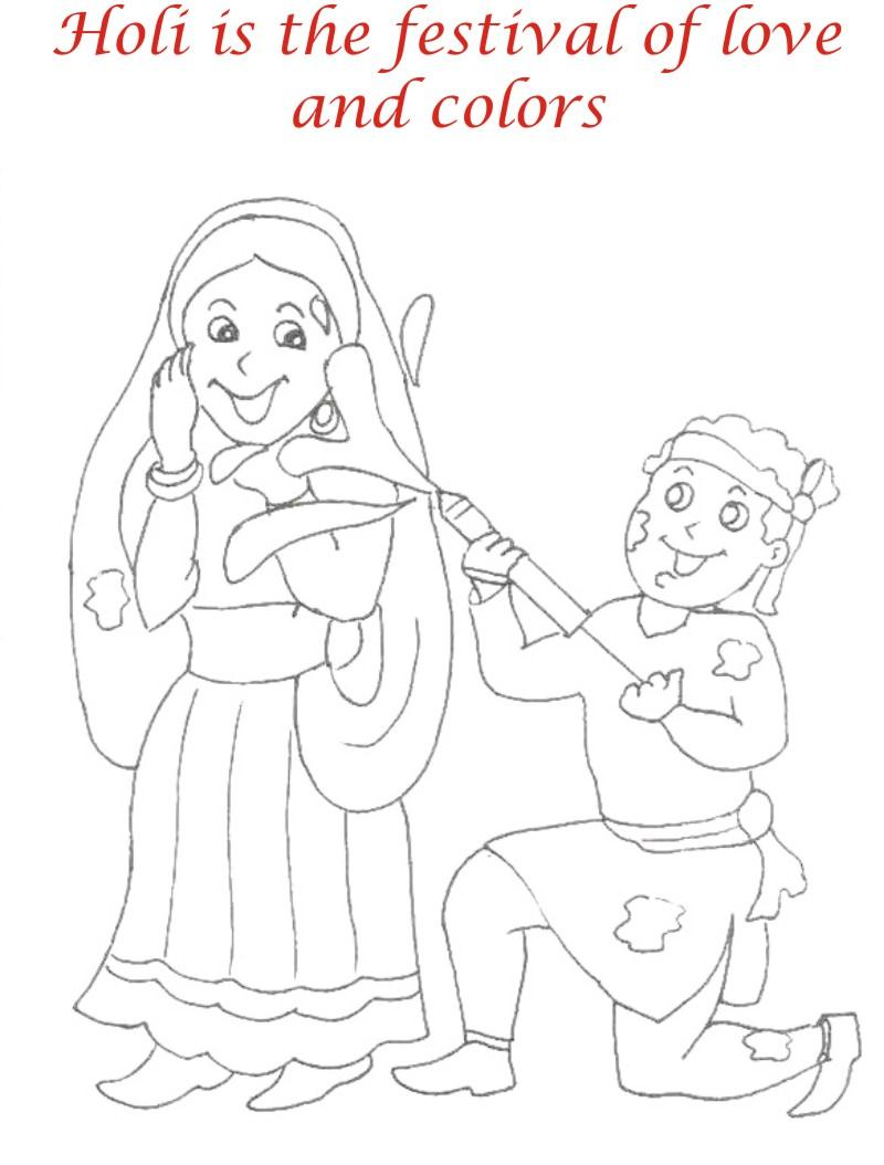 Holi coloring printable pages kids 3, love your neighbor coloring page