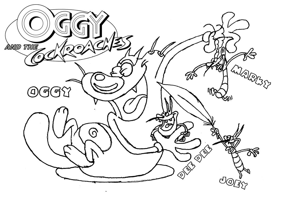 Oggy And The Cockroaches Coloring Pages