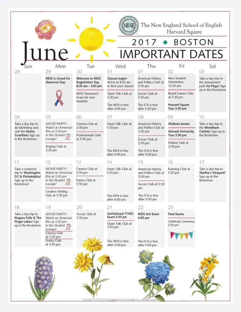 美國波士頓NESE語言學校2017年6月份課外活動行事曆