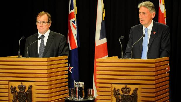 FAMILY VALUES?: Murray McCully and Philip Hammond in Wellington yesterday.