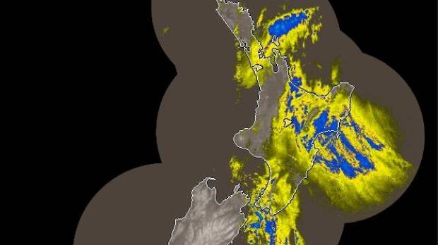 DELUGE: Heavy rain covers Gisborne and Hawke's Bay as well as the western Bay of Plenty and the tip of Great Barrier Island in this  11.28am rain radar image.