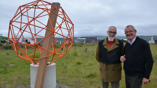 Wellington artist Duncan Sargent, left, and Allan Brown of Lower Hutt's E Tu Awakairangi Sculpture Trust, with Sargent's work Untie This, which is sited along a walkway by Waiwehtu Stream.