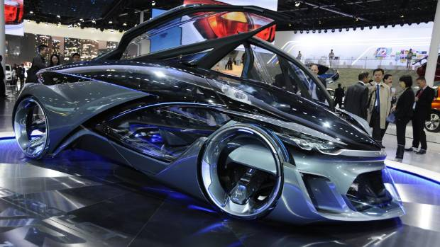 General Motors unveiled the concept Chevrolet FNR electric self-driving car at the 2015 Auto Shanghai show in Shanghai, ...