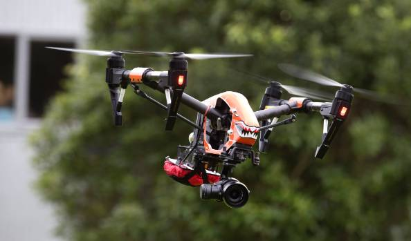 """Lealand's grandson Blake dubbed this quad copter """"sharky""""."""