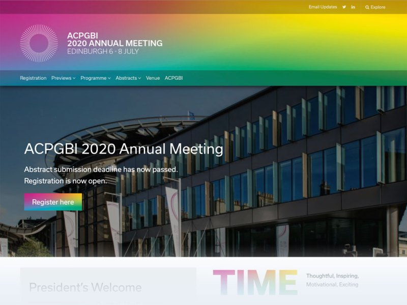 ACPGBI Conferences 2020 website homepage