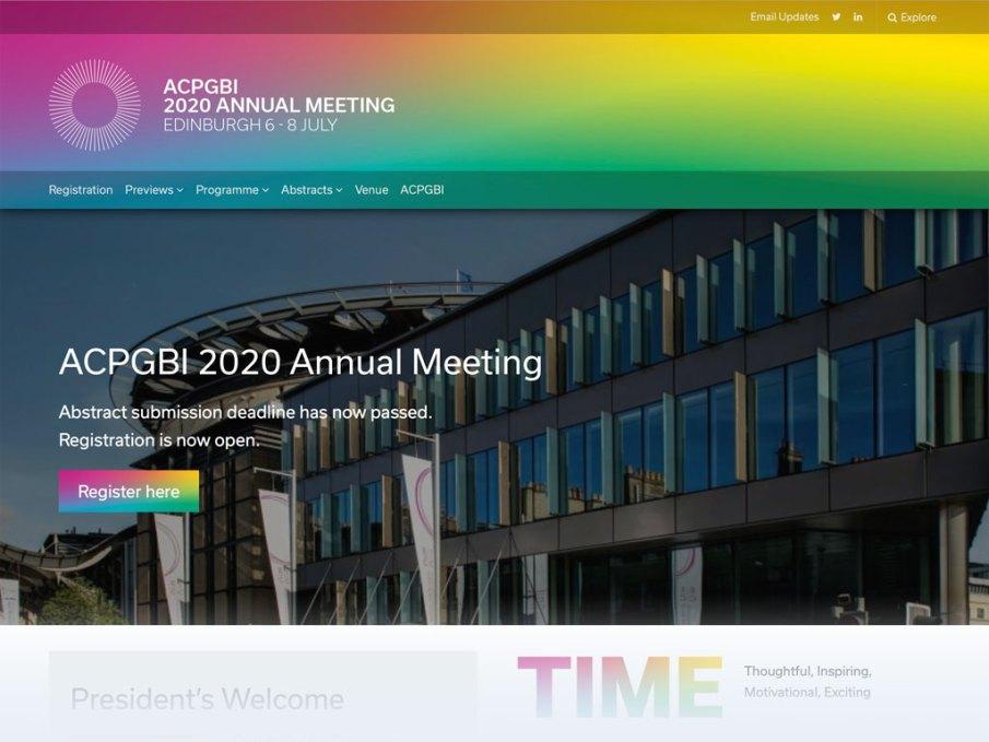 ACPGBI Conferences 2020 website homepage