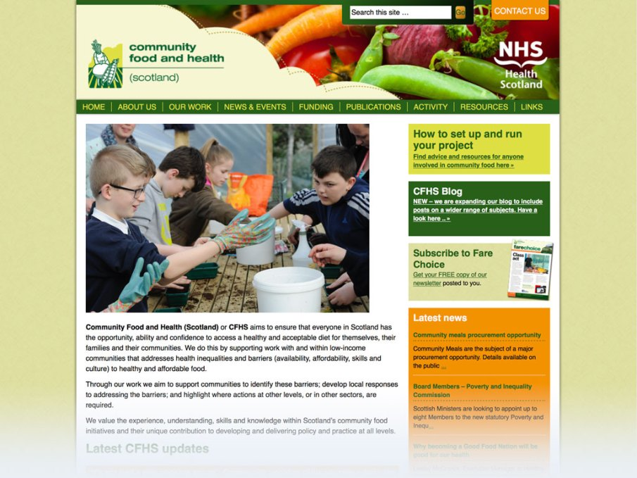 Community Food and Health (Scotland) website homepage