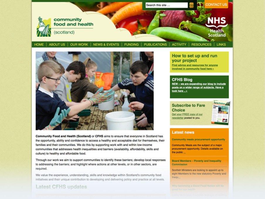 Community Food and Health (Scotland) website homepage